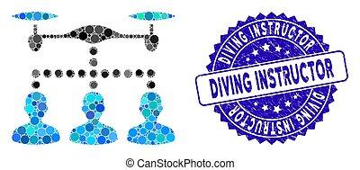 mergulhar, grunge, ícone, clientes, conexão, zangão, colagem, instrutor, selo