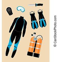 mergulhar, jogo, equipamento