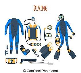 mergulhar, jogo, isolado, equipamento