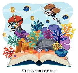 mergulhar, livro, abertos