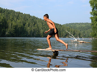 mergulhar, menino, feliz, lago, asiático