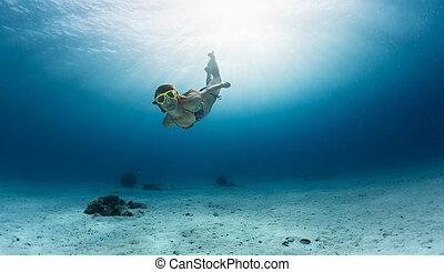 mergulhar, pele, oceânicos