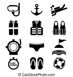 mergulhar, set., ícone