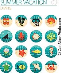 mergulhar, set., summer., férias, ícone