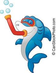 mergulhar, tubarão, equipamento