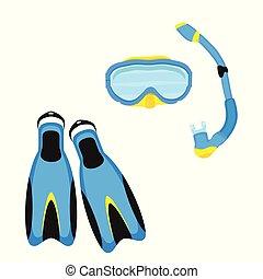 mergulhar, vetorial, equipamento