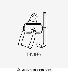 mergulhar, vetorial, logo.