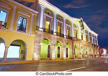 Merida city colorful facades of Yucatan in Mexico