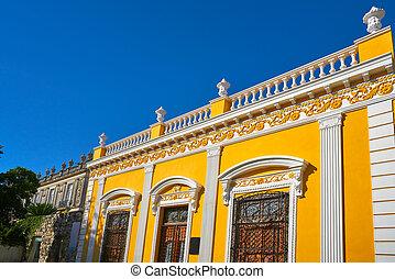 Merida city colorful facades Yucatan Mexico - Merida yellow ...