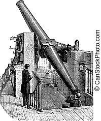 Meridian telescope, vintage engraving.