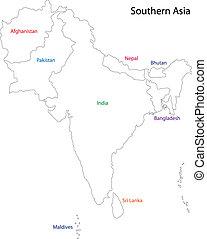 meridional, asia, contorno