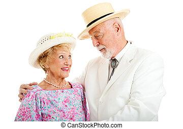 meridional, pareja mayor, -, coquetear