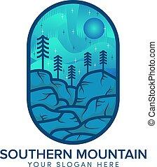 meridionale, logotipo, distintivo, sole, collina, montagna, blu, disegno