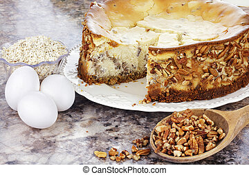meridionale, pecan, torta formaggio