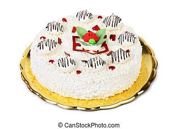 meringue cake isolated on white background