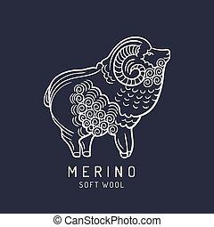 Merino sheep logo, label. Vector ram illustration. Ewe soft...