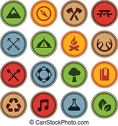 Merit badges - Set of merit achievement badges for outdoor...