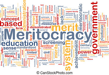 Meritocracy background wordcloud concept illustration