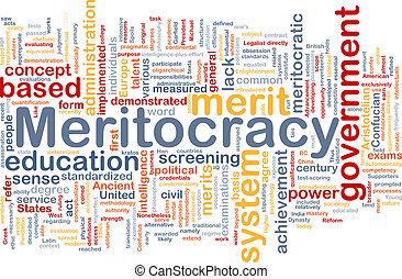meritocracy, fondo, wordcloud, concetto, illustrazione