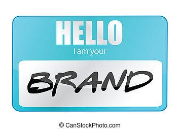 merk, jouw, illustratie, hallo