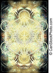Merkaba and mandala on abstract color background. Sacred geometry.