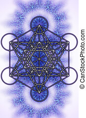 Merkaba and mandala on white background. Sacred geometry.