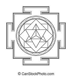 merkaba, ilustración, monocrome, contorno, yantra