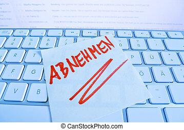 merkzettel, auf, edv, keyboard:, abnehmen