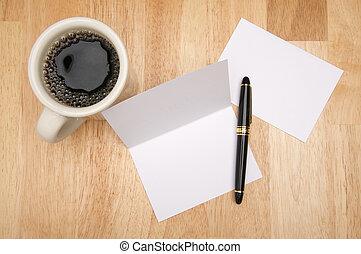 merkzettel, bohnenkaffee, karte, &