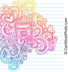 merkzettel, doodles, sketchy, vektor, musik