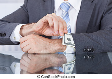 merkzettel, entfernen, businessperson, bank, ärmel