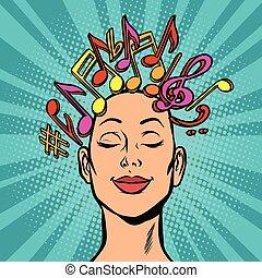 merkzettel, frau, hört, aufzeichnung, musikalisches, mu, komponist, composes, markierungen, oder