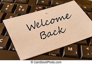 merkzettel, herzlich willkommen, zurück