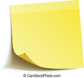 merkzettel, stock, gelber