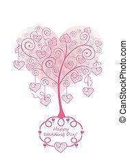 merletto, albero, scheda, matrimonio