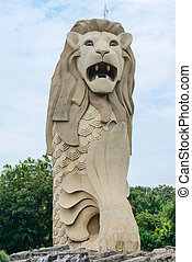 merlion άγαλμα , επάνω , sentosa απομονώνω , σινγκαπούρη