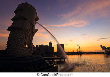 merlion, 泉水, 在之前, the, 小游艇船坞, 海湾