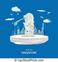Merlion landmark and tourist attraction in Singpapore...