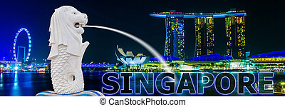 merlion, singapur, bahía, fuente, puerto deportivo, vista