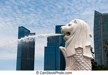 merlion socha, mezník, o, singapore