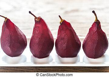 merlot-poached, peras, en, el, placa