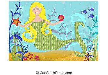 mermaid, 海, 下に