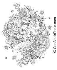 mermaid, 着色, ページ, 成人