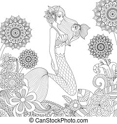 mermaid 10 - Beautiful mermaid playing with cute fish for...