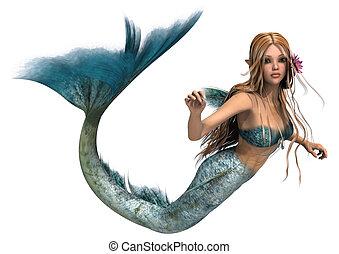 Mermaid - 3D digital render of a cute mermaid isolated on...