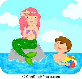 Mermaid and a boy
