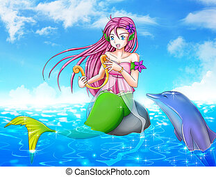 Mermaid and Dolphin - Cartoon illustration of a mermaid with...