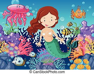 Mermaid and fish swimming under the sea