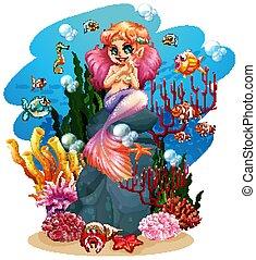Mermaid and fish underwater illustration