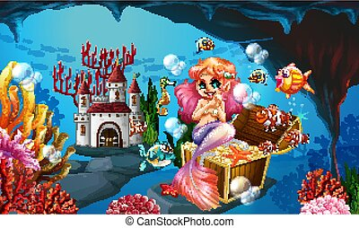 Mermaid and golden coins under the sea illustration